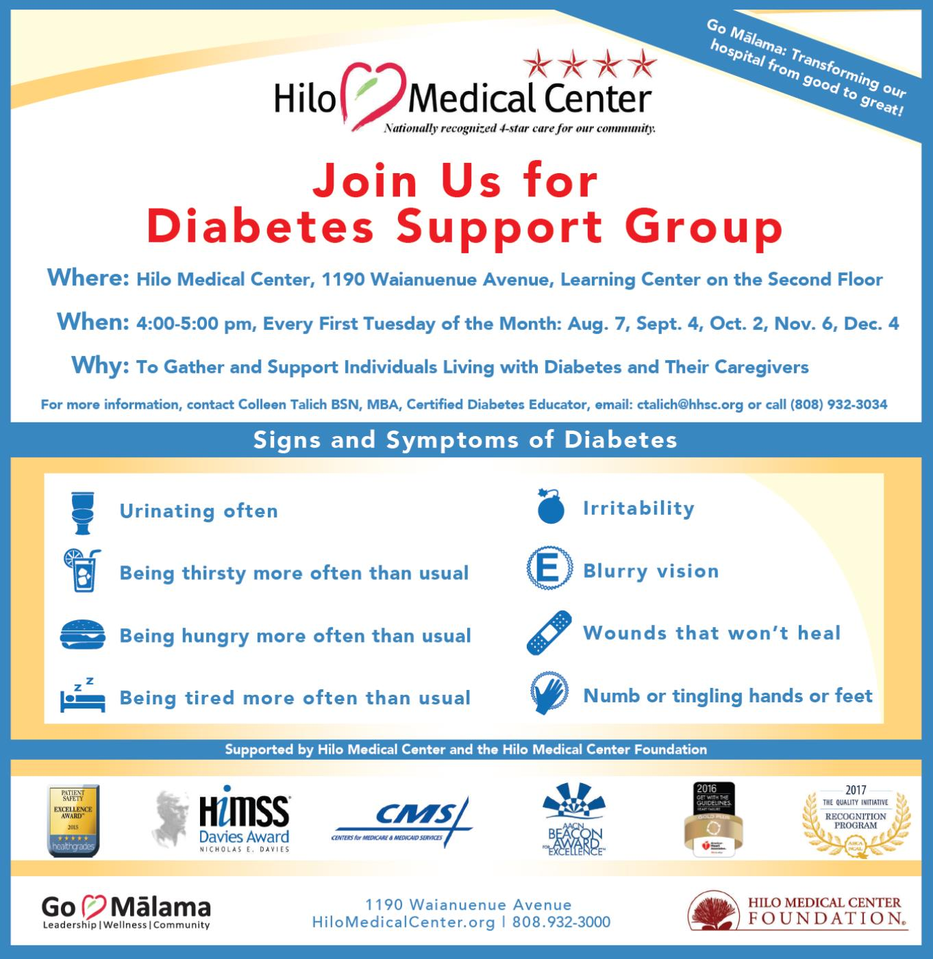 Diabetes Support Flyer excerpt