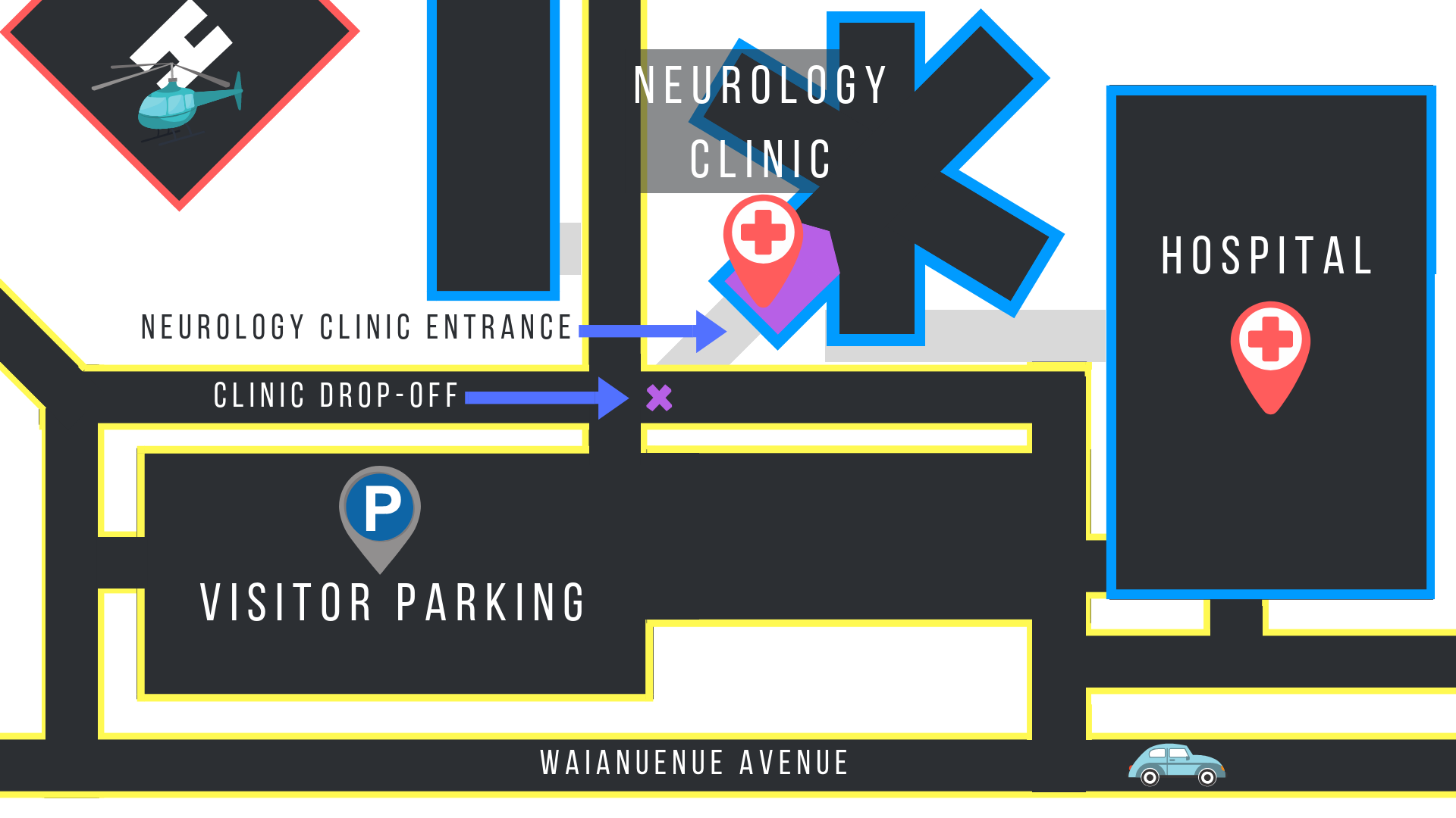 Map of Hilo Medical Center campus and new Neurology Clinic location